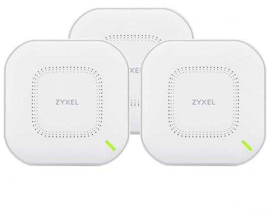 Комплект из трех гибридных точек доступа Zyxel NebulaFlex NWA110AX, WiFi 6, 802.11a/b/g/n/ac/ax (2,4 и 5 ГГц), MU-MIMO, антенны 2x2, до 575+1200 Мбит/