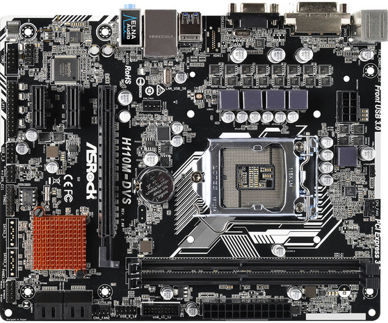 Материнская плата ASRock LGA1151 Intel H110 H110M-DVS