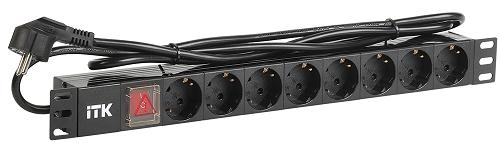 Блок розеток ITK 8 розеток немецкий стандарт с LED выключателем 1U вилка немецкий