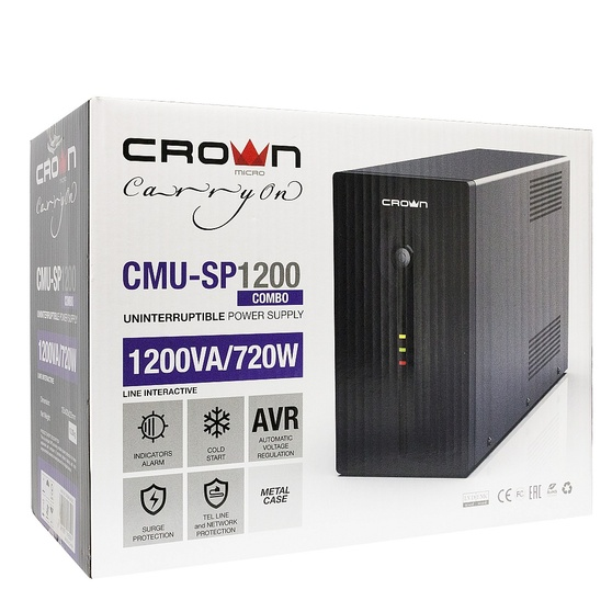 ИБП CROWN   720W (CMU-SP1200 COMBO USB)