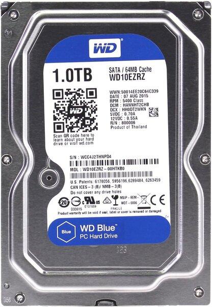 Жесткий диск  Western Digital Blue 3.5 EZRZ 1TB 5.4K SATA3