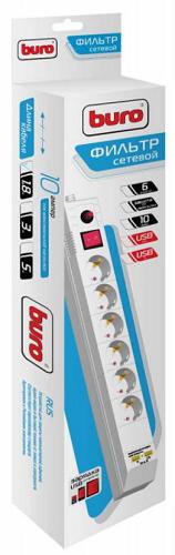 Сетевой фильтр Buro Сетевой фильтр BU-SP1.8_USB_2A-W