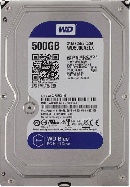 Жесткий диск  Western Digital Blue 3.5 AZLX 500GB 7.2K SATA3