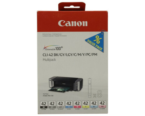 Комплект картриджей черный, серый, светло-серый, голубой, пурпурный, желтый Canon CLI-42, 6384B010